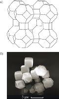 Цеолит NaA (структура типа LTA, размер пор 0,41 нм): а — структура; б — кристаллы.
